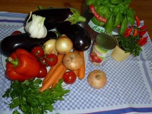Набор овощей и трав для приготовления сотэ