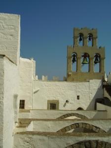 Patmos. Glockenturm des Klosters des Apostel Johannes